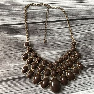 Jewelry - Brown and gold statement bib necklace